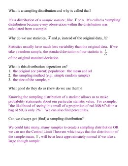 Statistics and Sampling Distributions