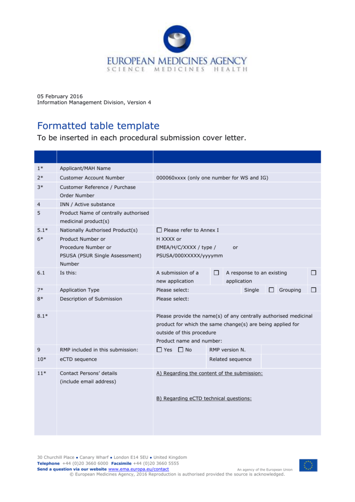 Template Table Cover Letter European Medicines Agency