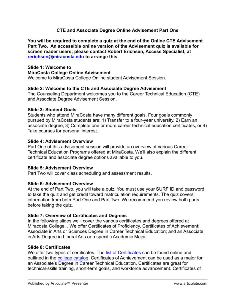 Slide 10 Associate Degree Requirements