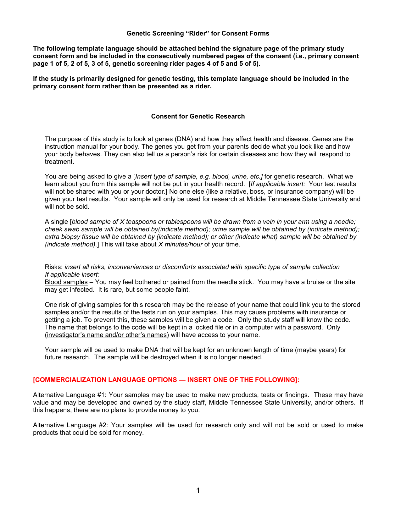 Genetic screening rider for consent forms altavistaventures Gallery