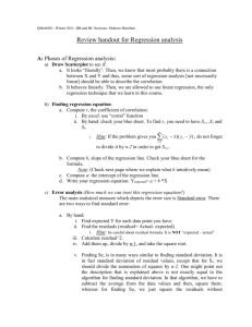 Review handout for Regression analysis
