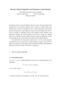 Grover`s Search Algorithm and Quantum Lower Bounds