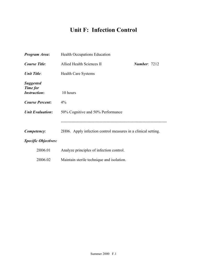 Science Health Infection Control Worksheet. Science. Best Free ...