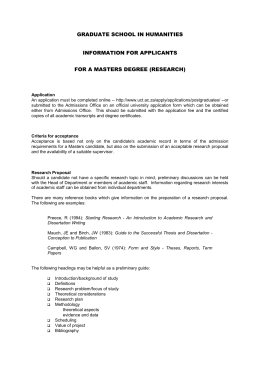 Masters information document - Faculty of Humanities