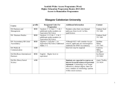 Glasgow Caledonian University - Scottish Wider Access Programme
