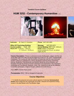 HUM 3252 Contemporary Humanities