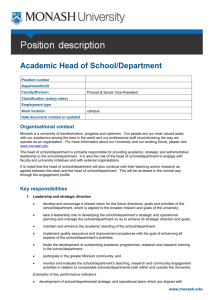 Academic Head of Unit - Administration, Monash University