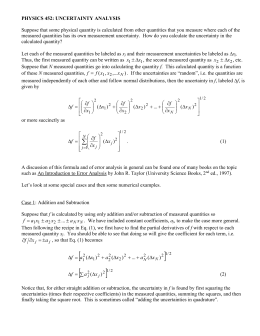PHYSICS 452: UNCERTAINTY ANALYSIS