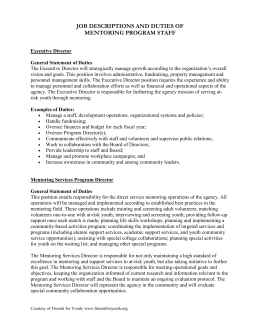 job descriptions and duties of a mentoring program staff