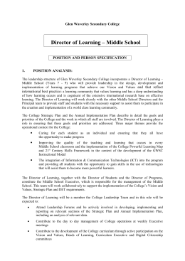 Director of Learning – Middle School