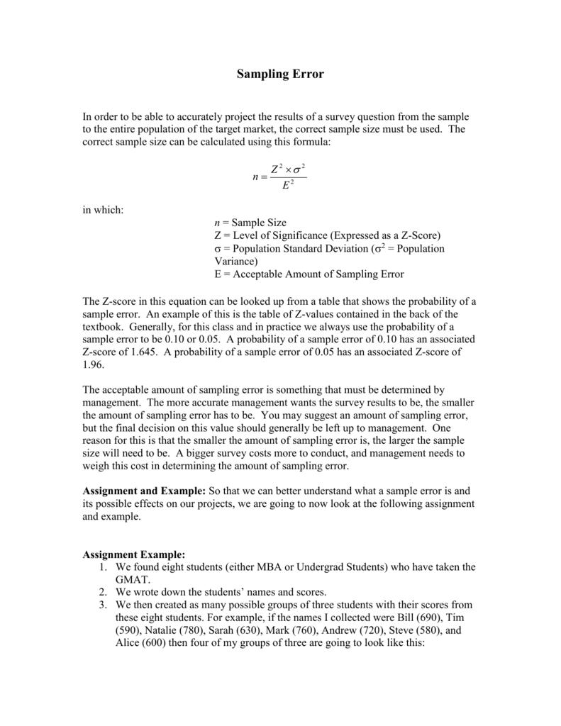 Sampling Error Tutorial