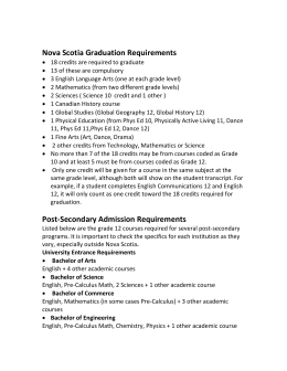 Nova Scotia Graduation Requirements