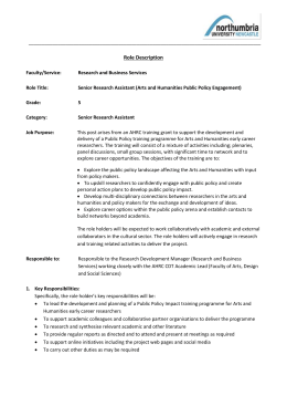 Role Description Form - Working at Northumbria