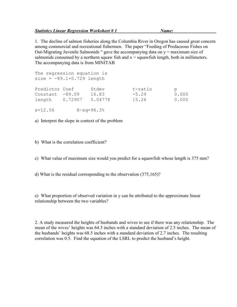 Statistics Linear Regression Worksheet