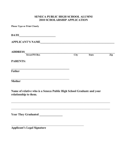 Seneca Public High School Alumni Scholarship Application