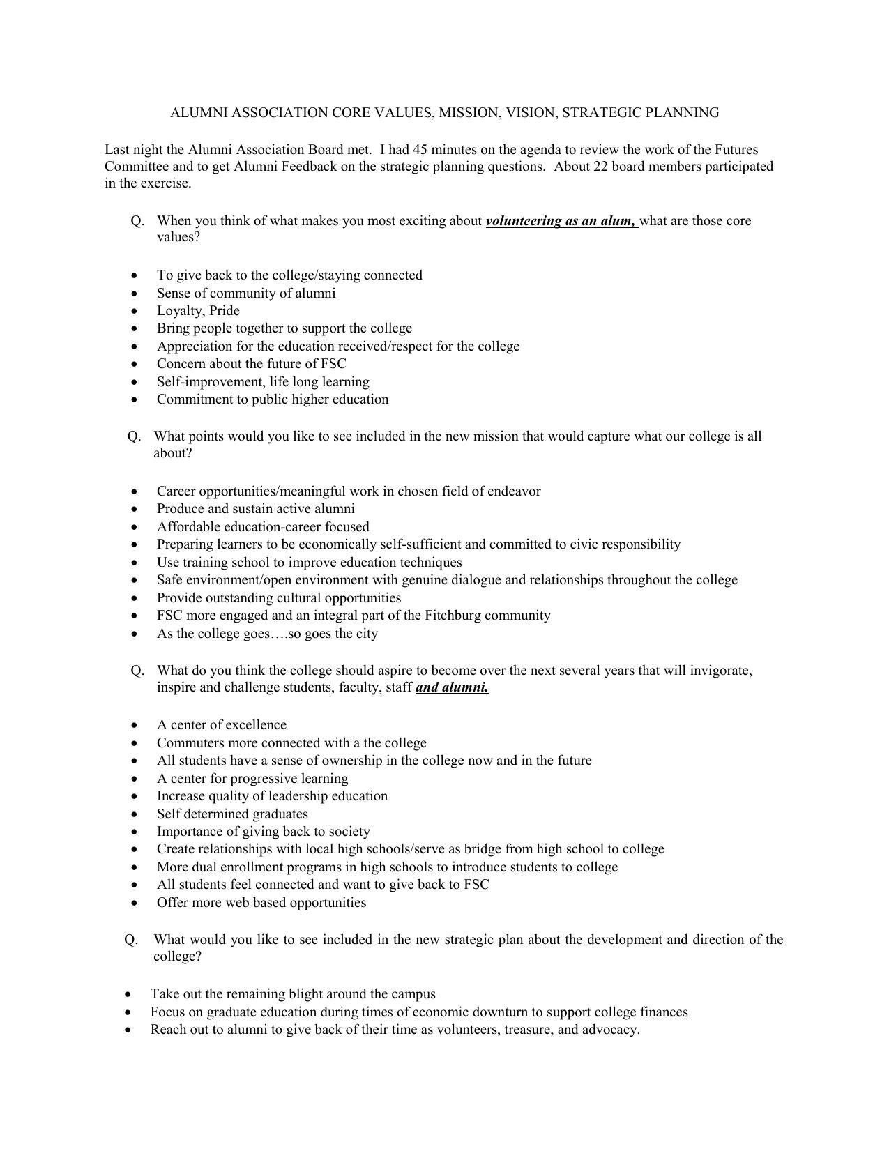 Alumni Association Core Values, Mission, Vision & Strategic