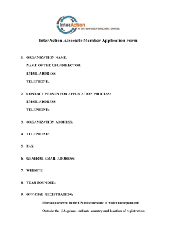 Associate Membership Application Form