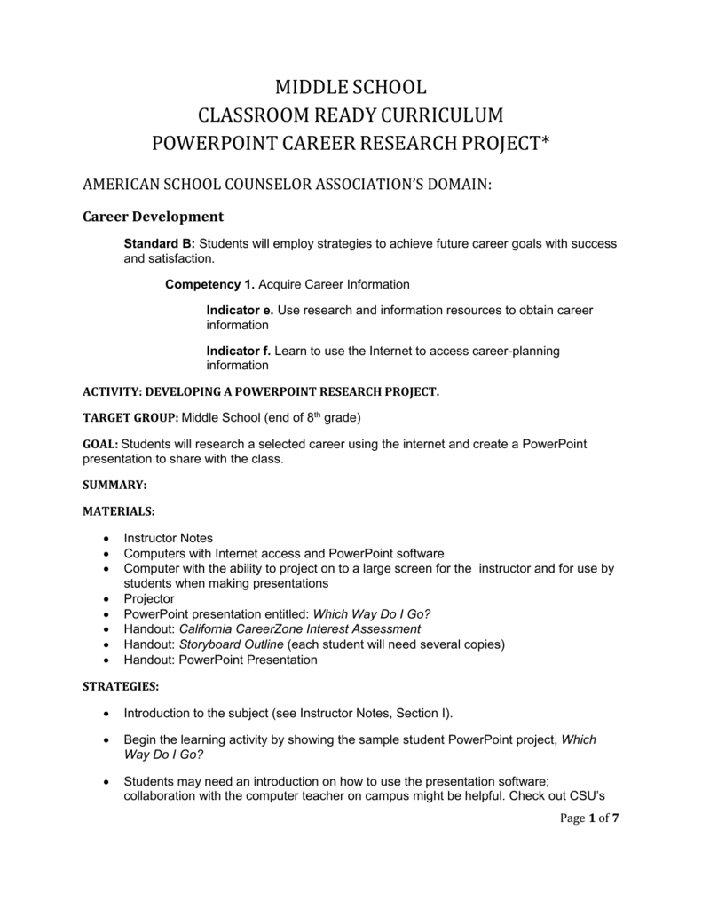 middle school career research project powerpoint