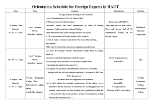 Orientation Schedule for Foreign Experts in HAUT