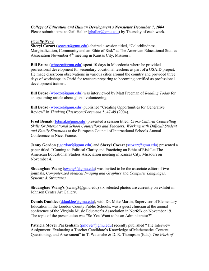 Faculty News - College of Education and Human Development