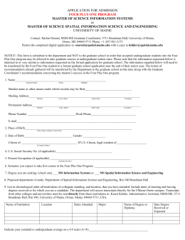 Application for Admission to the SIE or MSIS Four Plus One Program