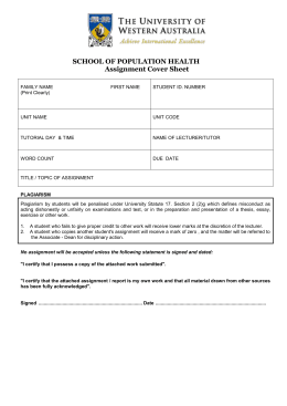 Assignment cover sheet - School of Population Health