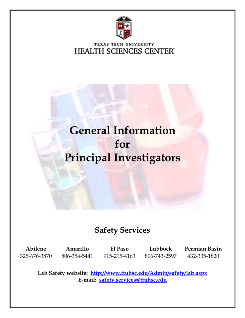 Principal Investigator Guide for Research Activities