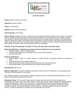 Job Announcement Position: Math Lab Instructor-Part