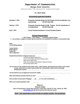 application for graduate assistantship - Communication