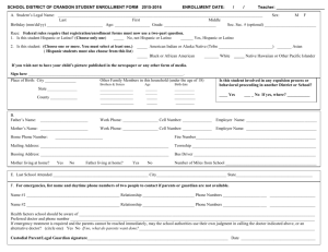 SCHOOL DISTRICT OF CRANDON STUDENT ENROLLMENT FORM