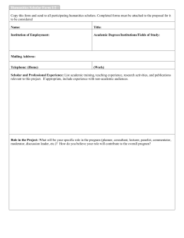 Humanities Scholar Form