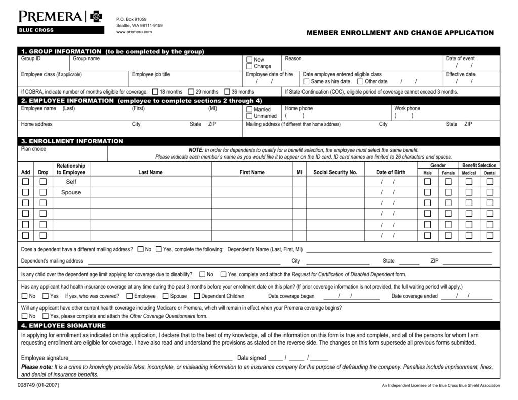 Premera Enrollment Form