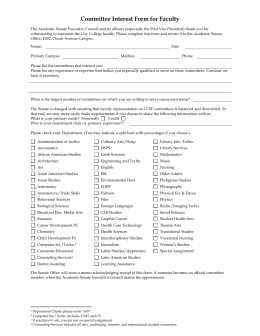 Faculty Governance Committee Interest Form