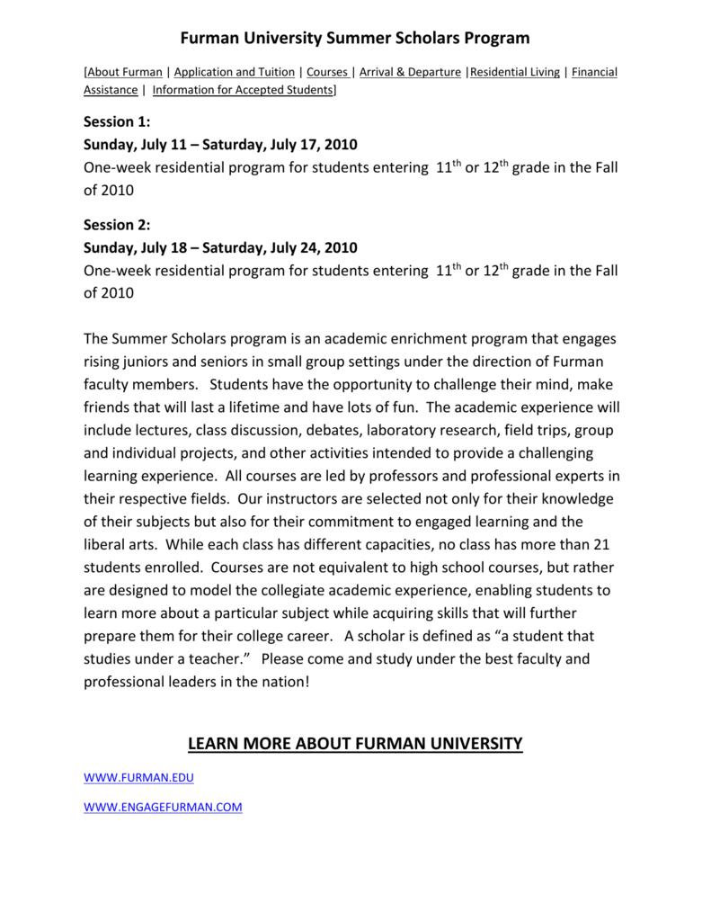 3a4361c80d81b Furman University Summer Scholars Program