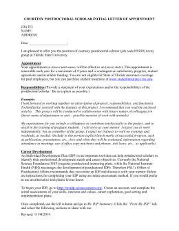 Sample Courtesy Postdoctoral Scholar Offer Letter