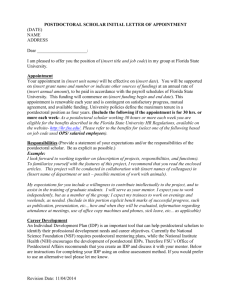 Sample Postdoctoral Scholar Offer Letter