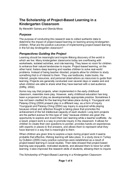 The Scholarship of Project-Based Learning in a - frps-21