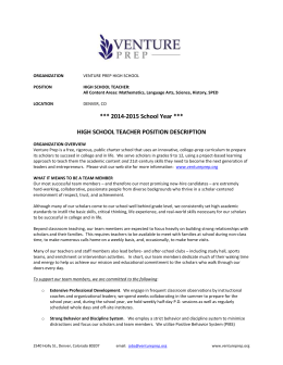 ORGANIZATION VENTURE PREP HIGH SCHOOL POSITION HIGH