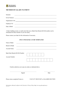 Method of Salary Payment form