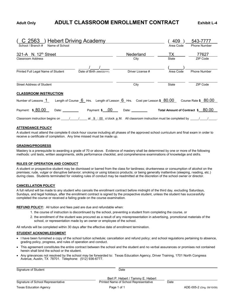 Adult Class Enrollment Contract
