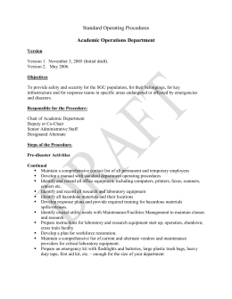 Academic Operations Department Checklist