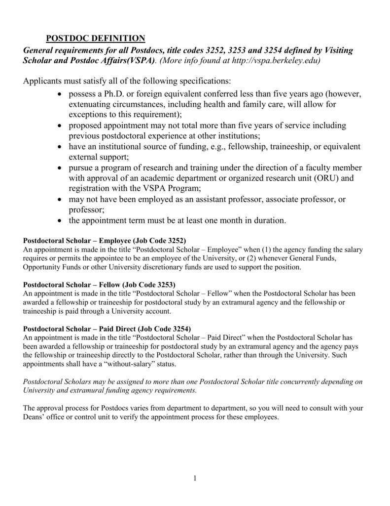 Post-Docs - Human Resources at UC Berkeley