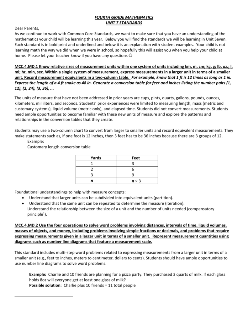 Unit 7 - 4th Grade Parent Letter