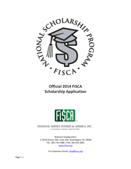 2014 FiSCA Scholarship Application
