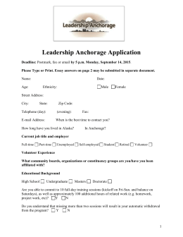Leadership Anchorage Application
