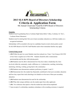 Scholarship Application Form - Spray Lake Sawmills Family Sports