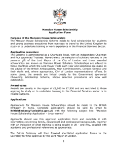 Mansion House Scholarship Application Form