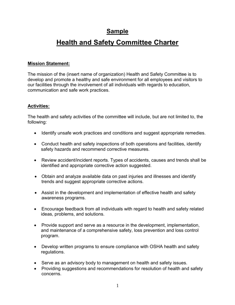 Sample Health and Safety Committee Charter