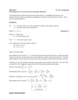 Notes and Derivations for Determining Levered Equity Betas (β)