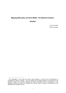 Mapping Minorities and their Media: The Swedish Report